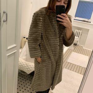 TED BAKER Gray Long Faux Fur Coat Small